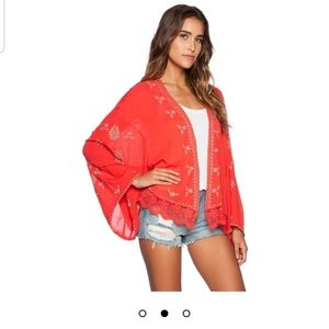 Free People Embroidered Kimono in Fire Red Size XS